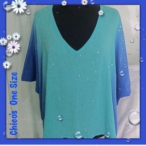 Chico's Turquoise Blue Sequin V Neck Top One Size